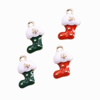 200pcs Goldton überzogene Emaille-Weihnachtssocke Charms Anhänger Ohrringe Versorgung Halskette Versorgung Charm 10X17mm
