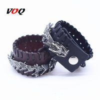 Punk Dragon Charm Bracelet Black & Brown Braided Rope Leather Bracelet for Men Hyperbole Jewelry Homme