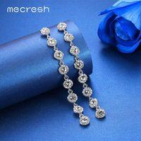 Mecresh Bildirimi Kadınlar Gümüş Renk Düğün Nişan Zinciri Dangle Küpe MEH1208 için Kristal Gelin Uzun Bırak Küpe