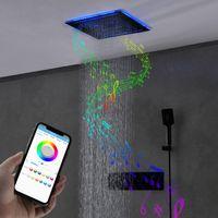 욕실의 레인 샤워 헤드 세트 400x400mm 폭포 안개 낀 수도꼭지 온도 조절 음악 욕실 세트 LED 라이트