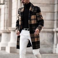 디자이너 남자 코트 영국 스타일 옷깃 목 긴 소매 느슨한 트렌치 코트 캐주얼 솔리드 컬러 맨 겉옷