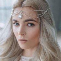 Kadınlar Tasarımcı Forehead Kaş kolye Lüks Düğün Gelin Şapkalar Takı 2 Renkler için yeni Rhinestone Headdress