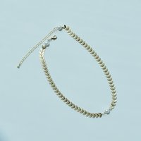 Chokers Londany Leaf Pearl Halskette Goldene doppelseitige Muster Kleine exquisite kurze Dame Student Geschenk