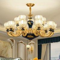 فاخر لغرف النوم الحديثة الثريا الإضاءة غرفة المعيشة داخلي إضاءة الثريات الأوروبية بسيط غرفة الطعام قلادة مصابيح الأنوار السيراميك