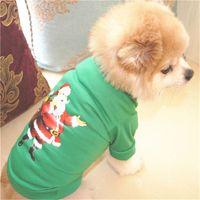 قميص كلب سترة S / M / L الإبداعية لينة القطن ملابس سانتا كلوز تيدي VIP القط والكلب حيوان أليف طبع يوم عيد الميلاد حلي