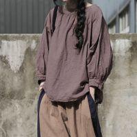 T-shirt das mulheres Johnature Mulheres Algodão Linho Vintage Top 2021 Primavera Pullover O-pescoço Loose Plus Size Roupa Breve Camisetas