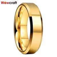 Обручальные кольца Wowcraft Ювелирные Изделия 6 мм Золотой Вольфрамовый карбид для мужчин Женщины Группа полированные блестящие скошенные края свободные внутри