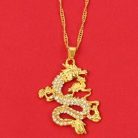 CZ Dragon Pendant Necklaces for Women Men Gold Color Jewellery Cubic Zirconia Mascot Lucky Symbol Gifts Wholesale Free shipping