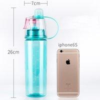 Amazon Hot Selling BPA Libre Niebla Esparia Botella de agua plástica Ciclismo al aire libre Corriendo Portátil Deporte Botella de agua Frebra a prueba de agua Botella de agua