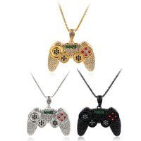 Naszyjniki Wisiorek Hip Hop Lande Out Game Controller Uchwyt Naszyjnik Dla Kobiet Mężczyźni Złoty Kolor Kryształ Rhinestone Biżuteria Łańcuch