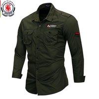 Fredd Marshall 100% algodão camisa militar homens manga longa vestido casual camisas de trabalho de carga masculino com bordado kg-1008