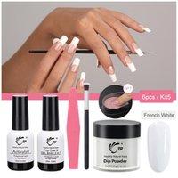Unghie glitter immergersi in polvere set francese bianco manicure kit di avviamento senza lampada per le unghie artistiche sfumature olografiche polature