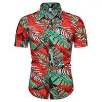 Дизайнерские мужские рубашки моды Гавайи лето пляж вскользь рубашки мужские нагрудные шеи летние рубашки Flaro печатных