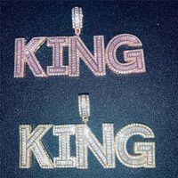 A-Z Buzlu Kelime Özel Mektup Adı Kolye Kübik Zirkonya Harfleri Kolye Erkekler Hiphop Takı Hediye