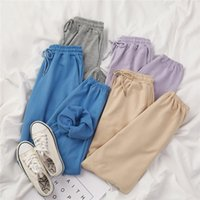 Mooirue-Sommer-Herbst-Frauen-Harem Pants Cotton Lila Grau Kahkai Blau Sweat Pants Bottom 200919