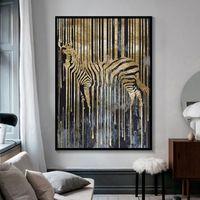 Lienzo de pintura de pared carteles y las impresiones de oro de cebra Arte de pared Cuadros para habitaciones de niños Vida decoración comedor Entrada Hotel Home Decor