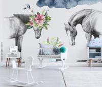 Пользовательские фото Mural обои Современные европейские HD Черный и белый конь стены искусства Картина Гостиная Спальня Домашнее украшение