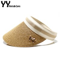 Sommerhüte für Frauen Wide Brim Hat Leer Top Sun Visor Caps Bowknet Shade Hat Lady Strand Cap Straw Sombrero-Hüte YY18014