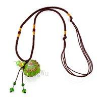 YingWu цветок муранского стекла зеленого масла Ashes Urn бутылки пробки кулон ожерелье флакон Регулируемое