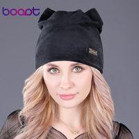 [Boapt] кошачьих уши шлем девушки крышка этикетка металла мягкой фланель зимние шапки для женщин шапочки теплых шляпок дамы случайных Skullies Шапочка