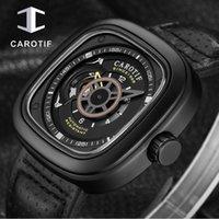 CAROTIF Спорт автоматические часы Мужчины площади Кожаный ремешок Мужские механические часы Top Brand Luxur Relojes automaticos 2020