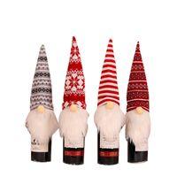 Wine Gnomes Natal garrafa Topper Tampa decorativa Handmade sueco Wine Bottle Tomte Vestido de Natal enfeites de mesa JK2009XB