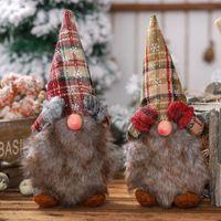 Cubierta del ojo adorno de navidad de la tela escocesa de la felpa de Santa Claus muñeca sin rostro creativo Bosque Oldman