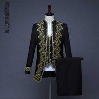 Vaguelette Blanc / Noir Broderie florale Costume Homme Costume de scène élégant Homme Luxe mariage Mariage Hommes 3 Piece Suit Avec Gilet