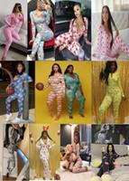 Kadın G Gecelik Tulum Egzersiz Düğmesi Bodysuit Sıska Baskı Uzun Kollu Tulumlar V Yaka Onesies Bayan Artı Boyutu Tulum Pijama