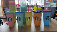 The latest 24OZ Starbucks straw cup, a set = 5 cups, hot water temperature-sensitive Starbucks cup, free shipping