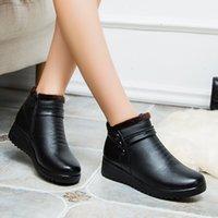 ZZPOHE Moda Kış Boots Kadınlar Gerçek Deri Ayak bileği Sıcak Boots Anne sonbahar peluş kama ayakkabı Kadın ayakkabı Büyük Boy 35-41 200916