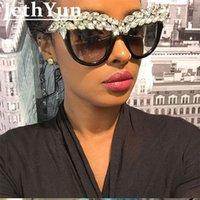 선글라스 다이아몬드 음영 큰 프레임 여성 2021 브랜드 디자이너 큰 라인 석 카테이 파티 섹시한 안경 UV400