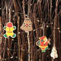 2pcs de madeira pingente DIY Árvore de Natal sino Papai Noel grafite coloração livre para a Educação decoração presente 3pcs caneta de cor