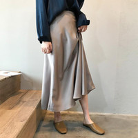 2020 High Waist Elegant Summer A-Line Long Chic Vintage Satin Skirt Women Faldas Jupe Femme Saia