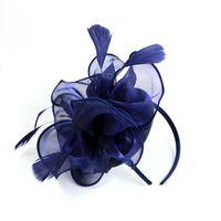 Cappello Mesh clip di capelli delle donne piuma modo delle donne Fascinator nozze Nastri Penny e piume partito floreale Copricapo Nuovo