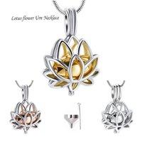 Paslanmaz Çelik Kremasyon Takı Küller için - Lotus Çiçek Kolye Mini Keepsake Urn Memorial Kolye Küller için