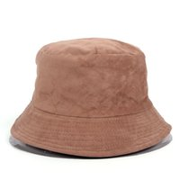 New Suede Solid Color Double-sided Bucket Hats Men Women Wearing Hat Outdoor Hip Hop Travel Visor Fishing Caps Accessory Unisex