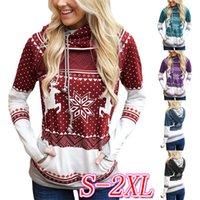 Kadınlar Kapşonlu Kapüşonlular Yılbaşı Noel Elk kar tanesi Cep Spor Sonbahar Tişörtü D9305 ile Tasarımcılar Triko Kazak tişört yazdır Tops