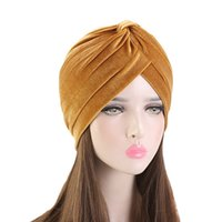 6Colors Velvet Light Plate Solid Coloring Indian Hat Turban Ladies Headwear Wrap Scarf Cap Accessories Hijab Muslin Bonnet