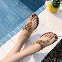 2019 Scarpe Donna Sandali piatti Bohemian String Bead estate sandali piani delle donne casuali della spiaggia Sandali donna Scarpe Y200620