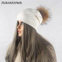 FURANDOWN Kış Sonbahar Pom kasketleri Şapka Kadınlar Örme Yün Skullies Casual Cap Real Rakun Kürk Ponpon Şapkalar