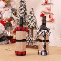 Neue Weihnachtswein-Abdeckung Plaid Leinen Flasche Kleidung Weinflasche Abdeckung Weihnachtsverzierung Wein Tasche Weihnachtsdekoration CYZ2746 240Pcs