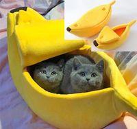 Pequeña cama de mascotas forma plátano mullido cálido suave peluche cama transpirable plátano gato cálido mascotas productos casa decoración navideña casa casa