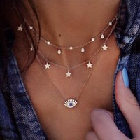 Vintage Gold Color Crystal Water Drop Star Eye Pendant Necklace for Women Boho Charm Layered Necklaces Collars