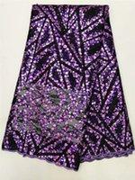 beau tissu de dentelle française 2020 sequins brodés tissu de dentelle de tulle net pour dame robe de soirée FYAU301