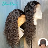 Cierre pelucas de encaje sin cola 4x4 descarado rizado pelucas de cabello humano 150% para las mujeres del cordón Negro Color de pelo peruano de Remy Slove Rosa