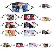 ファッションクリスマスマスクプリントクリスマスフェイスマスクアンチダスト漫画動物プリントクリスマスマウスカバー洗えるブラウザ洗える再利用可能なフィルターFY4235