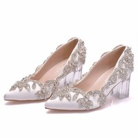 women pumps wedding Party banquet PU Rhinestones Slip On 6.5CM Thick High Heels Pointed Toe high heels women shoes size 35-42