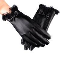 Beş Parmak Eldiven Moda Kadınlar Artı Kadife Yay Açık Sıcak Rüzgar Geçirmez Mittnes Tam PU Deri Su Geçirmez Handschoenen Luvas