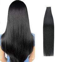 Fuerte cinta de doble cara adhesiva en las extensiones # 1 Jet Negro brasileña natural del pelo humano de Remy recta sin fisuras Pu trama de la piel de la cinta del pelo 20pc